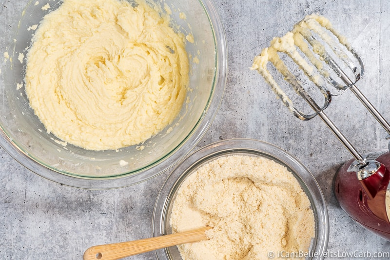 dry and wet Ingredients for Low Carb Cream Cheese Cookies