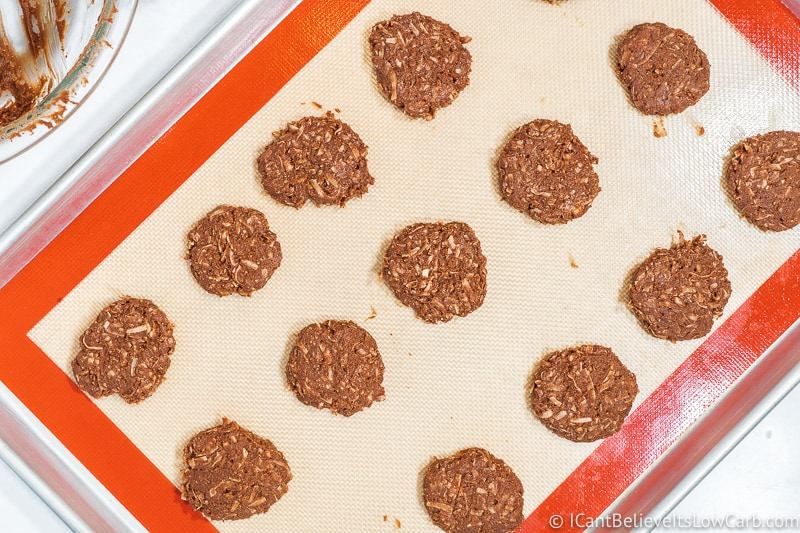 Flattening Keto No Bake Cookies on tray