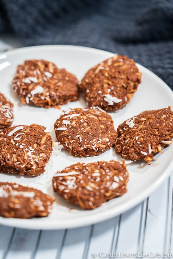 Low Carb No Bake Cookies on plate
