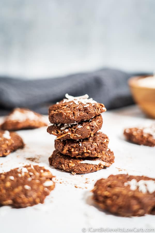 Keto No Bake Cookies in a stack