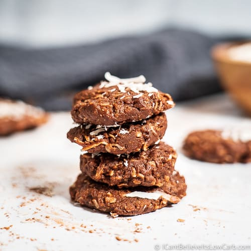 Keto No Bake Cookies with coconut