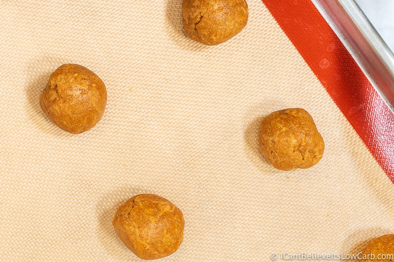 Laying out Sugar-Free Peanut Butter Cookies in balls