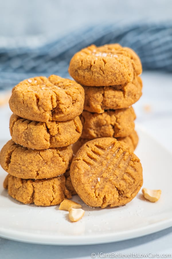 Keto Peanut Butter Cookies on a white plate