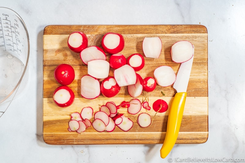 Cutting radishes in half