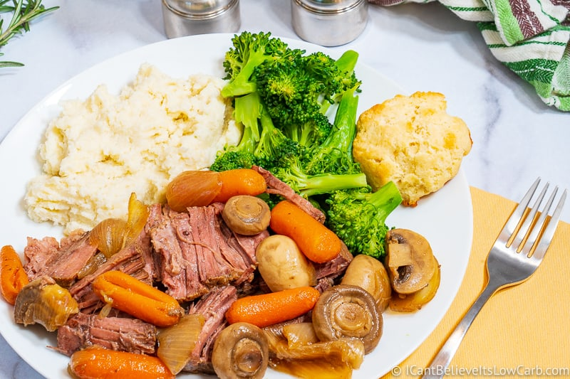 Keto Pot Roast on a plate with veggies