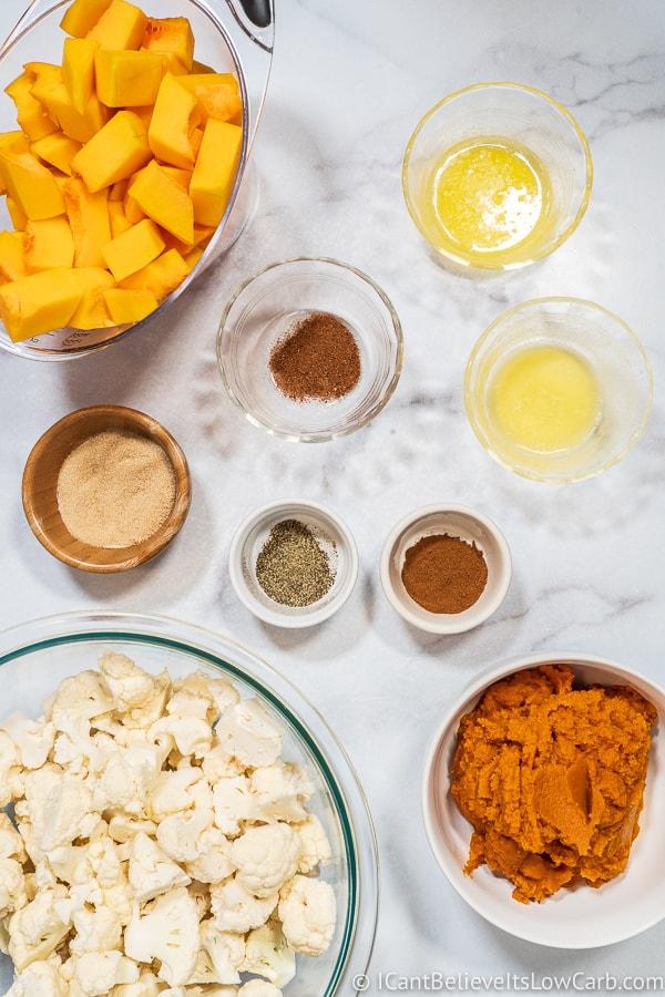 Ingredients for Keto Sweet Potato Casserole