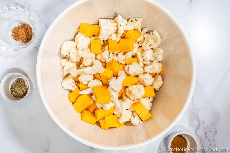 Adding butter to Keto Sweet Potato Casserole