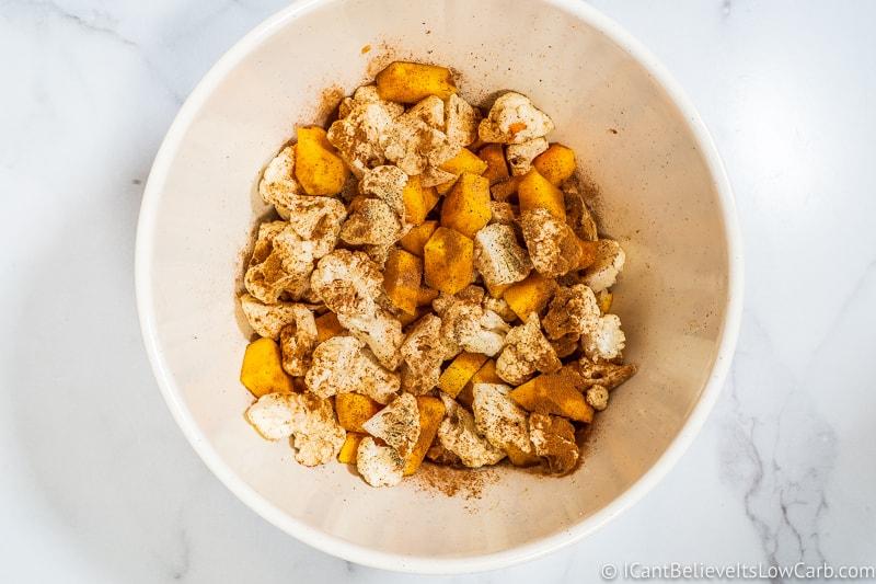 Adding nutmeg to Keto Sweet Potato Casserole