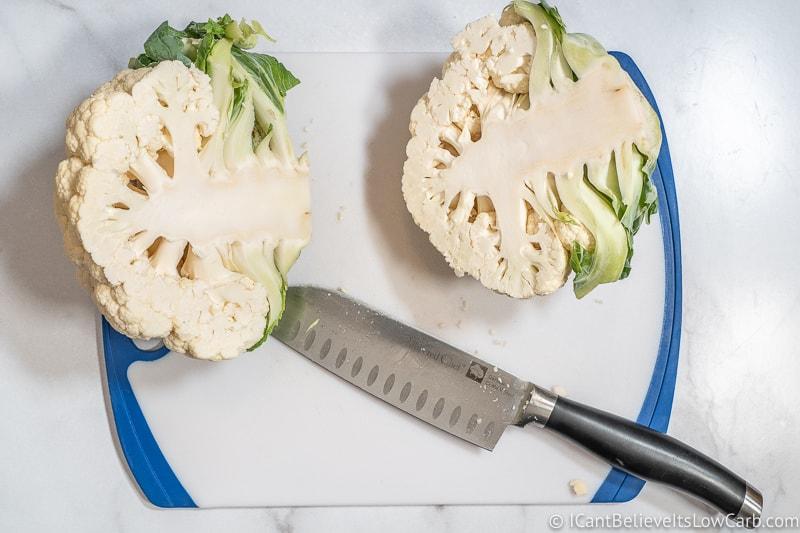 cutting cauliflower in half