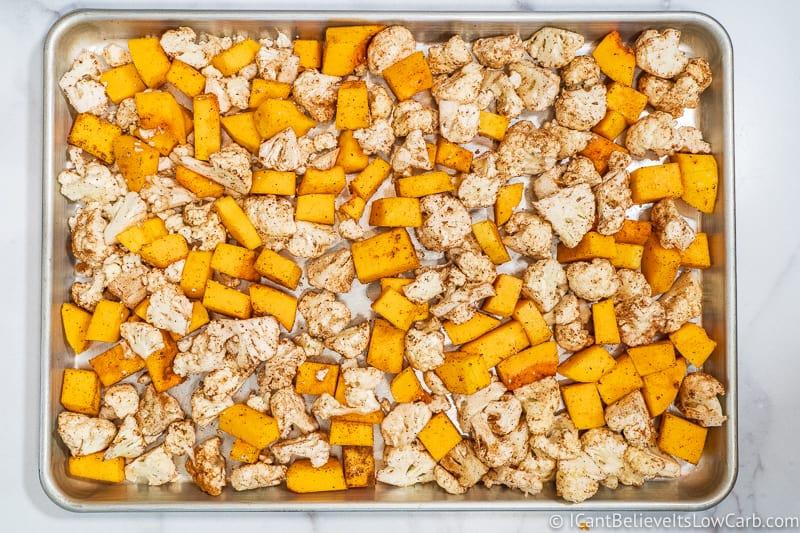 Butternut Squash and Cauliflower on baking tray
