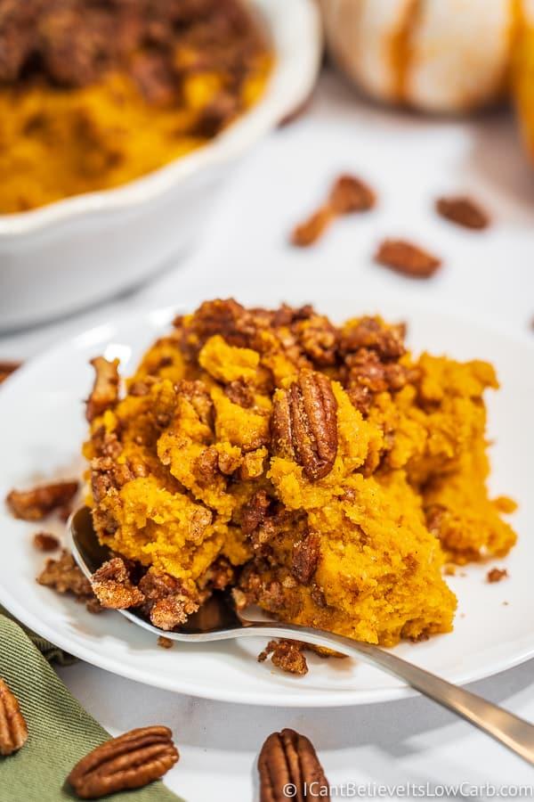 Keto Sweet Potato Casserole on a white plate
