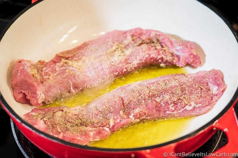 Searing two Pork Tenderloins in dutch oven