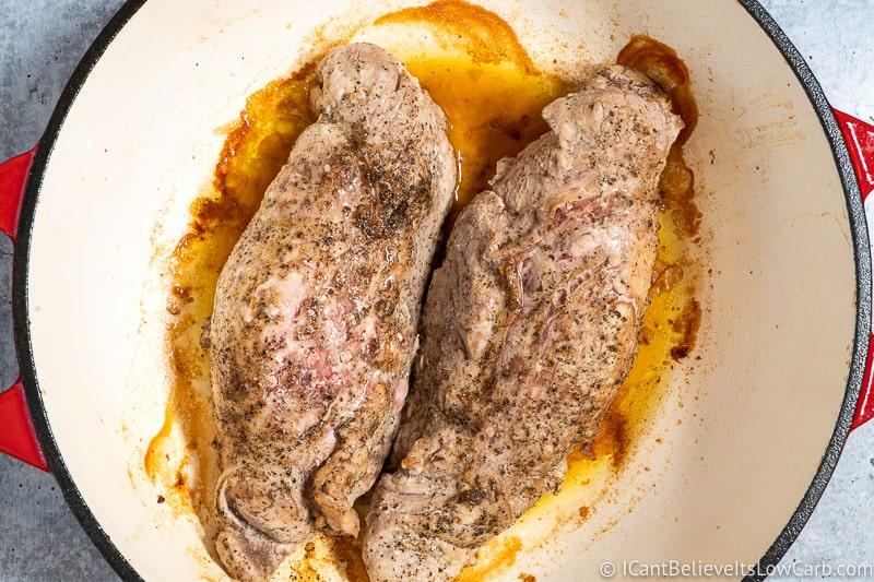 Pork Tenderloin cooked in dutch oven