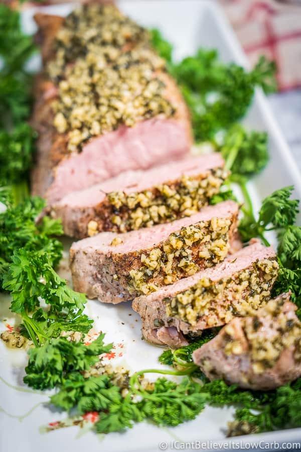Oven Roasted Pork Tenderloin with garlic butter