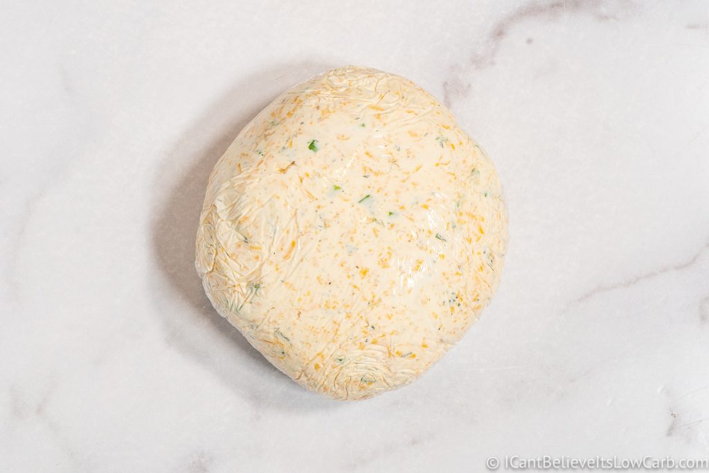 Cheese Ball wrapped in plastic