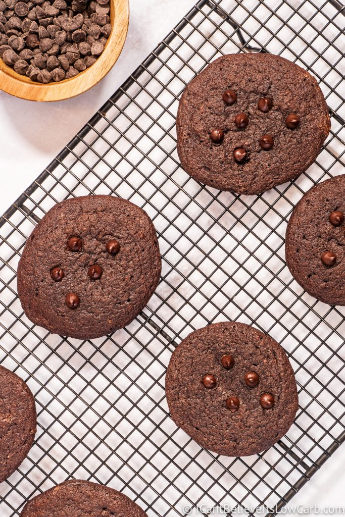 Keto Chocolate Cookies cooling on a rack
