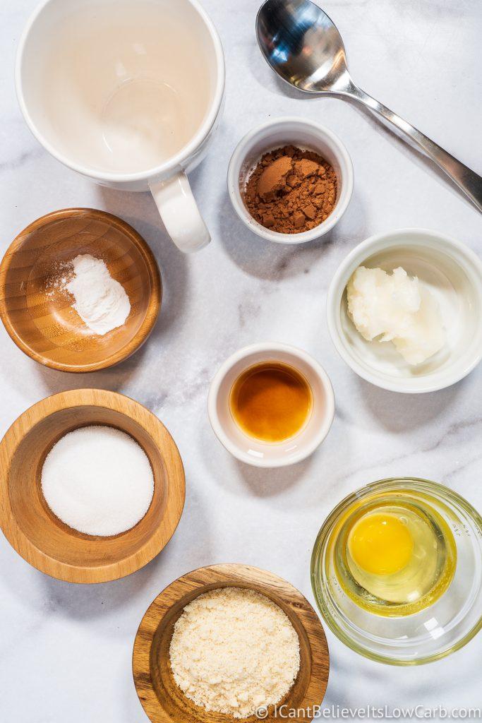 Keto Chocolate Mug Cake Ingredients