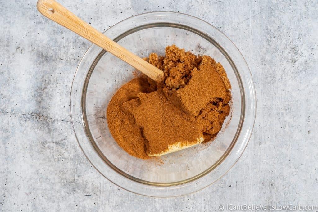 Adding cinnamon to the bowl