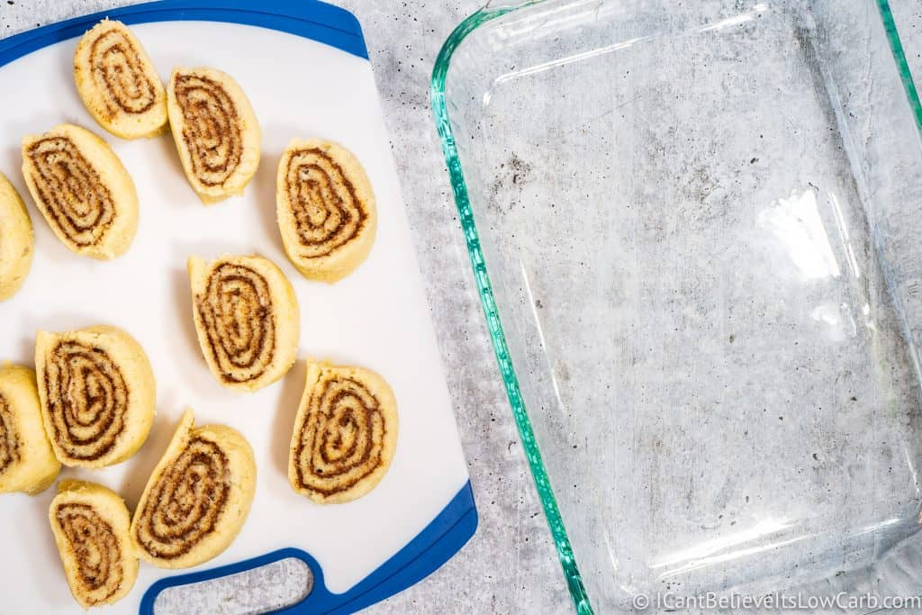 Cut Fathead Cinnamon Rolls before cooking