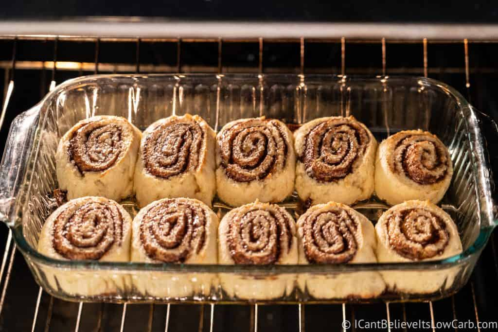 Baking Keto Cinnamon Rolls in the oven