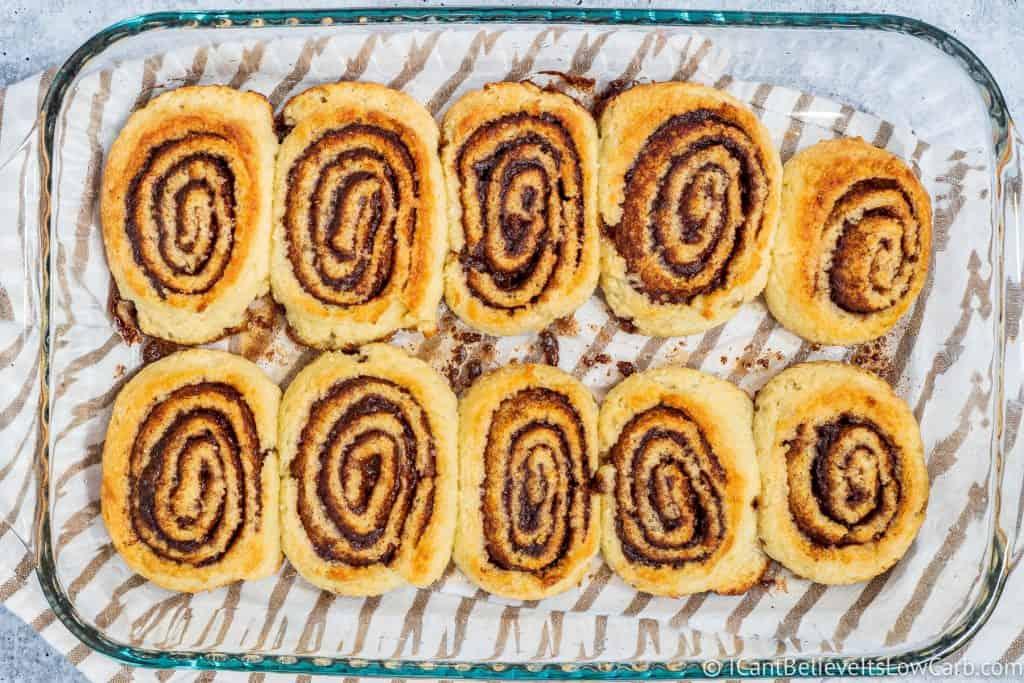 Keto Cinnamon Rolls after baking