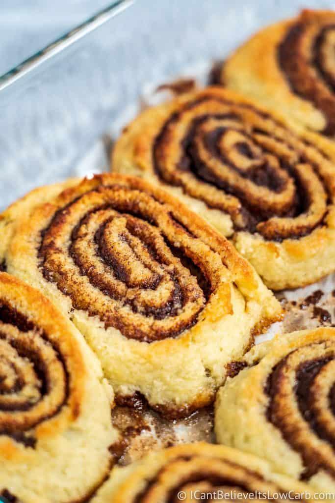Almond Flour Cinnamon Rolls in pan
