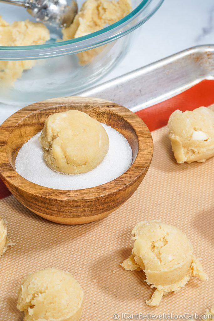 Keto Sugar Cookie Dough Balls in swerve