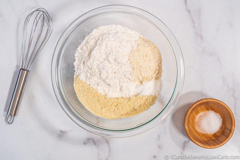 Adding baking powder to flour