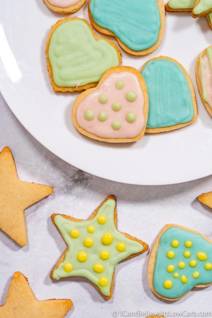 Keto Sugar Cookies heart and star shapes