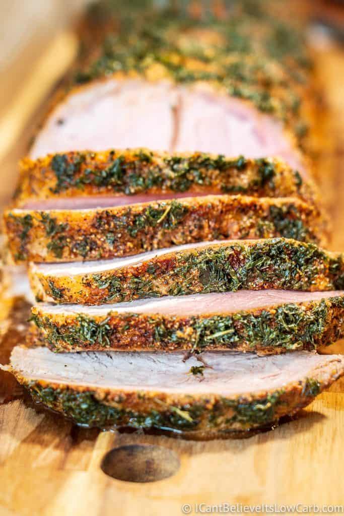 Pork Loin Roast seasoned and on cutting board