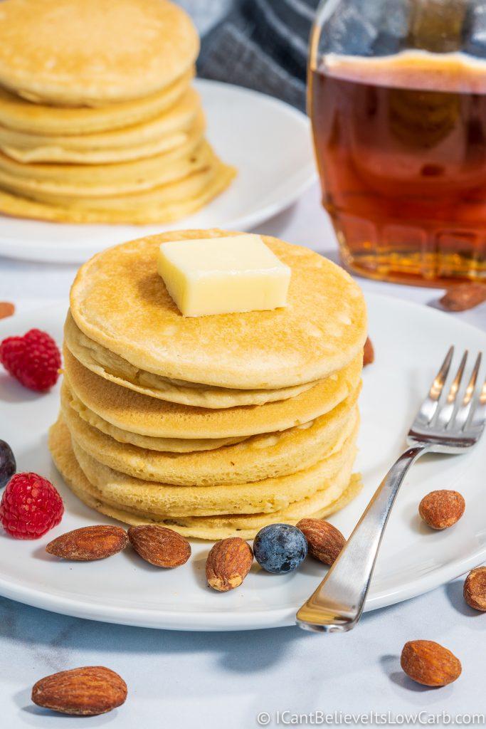 Low Carb Almond Flour Pancakes stacks