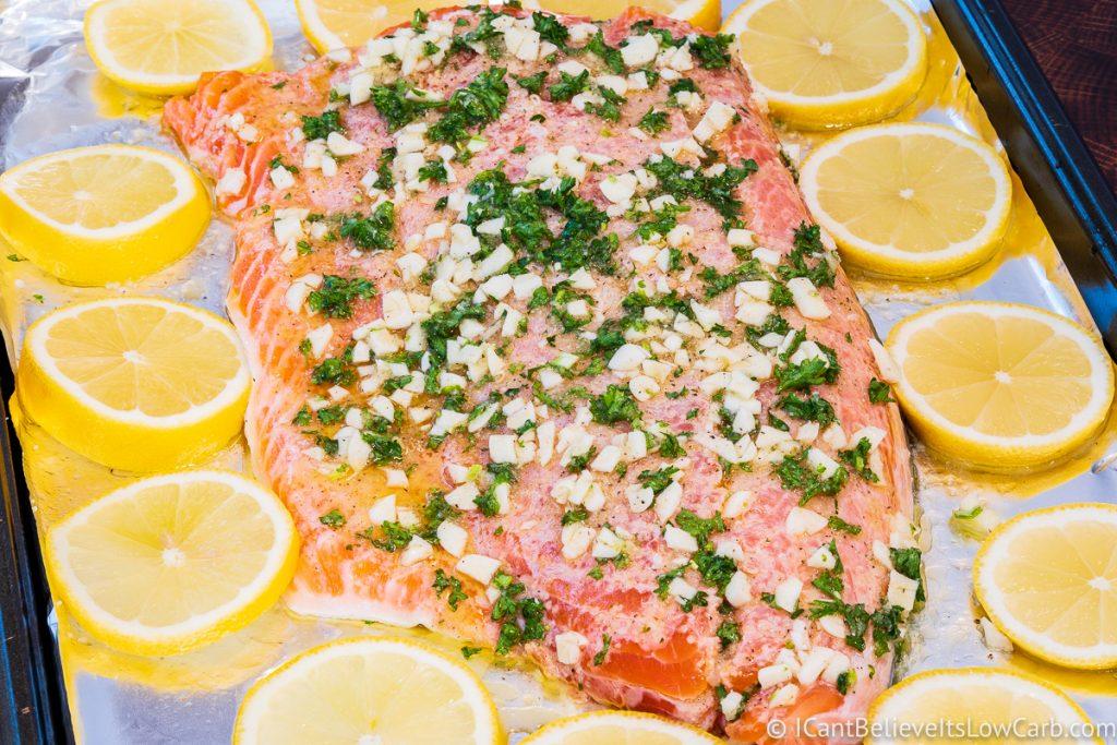 Lemon Garlic Salmon before baking