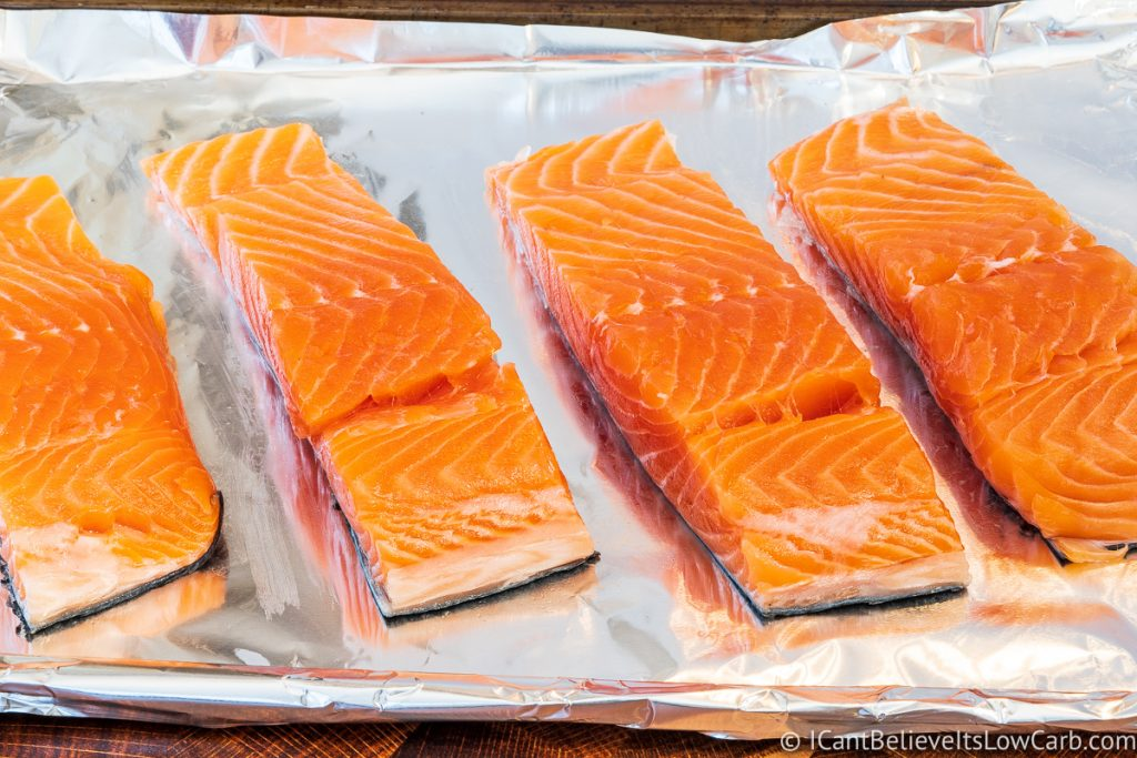 Fresh Salmon filets on baking tray
