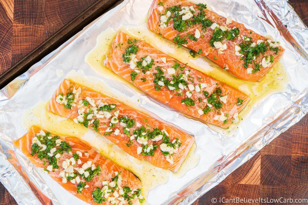 Garlic Lemon Salmon filets before cooking