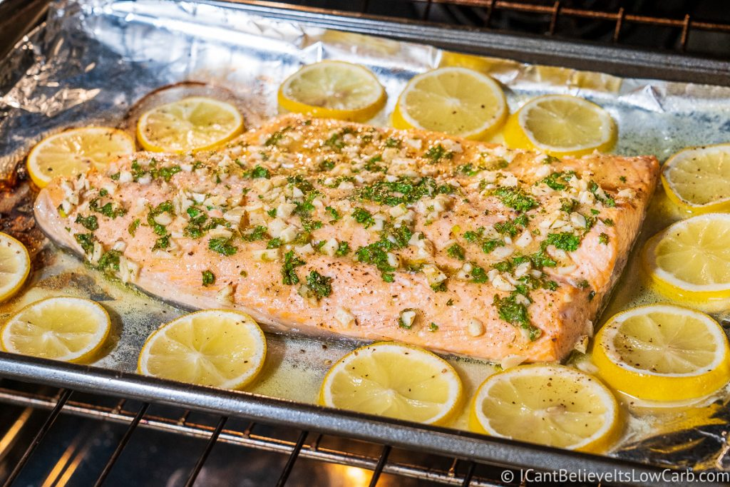 Big Salmon Fillet cooking in the oven