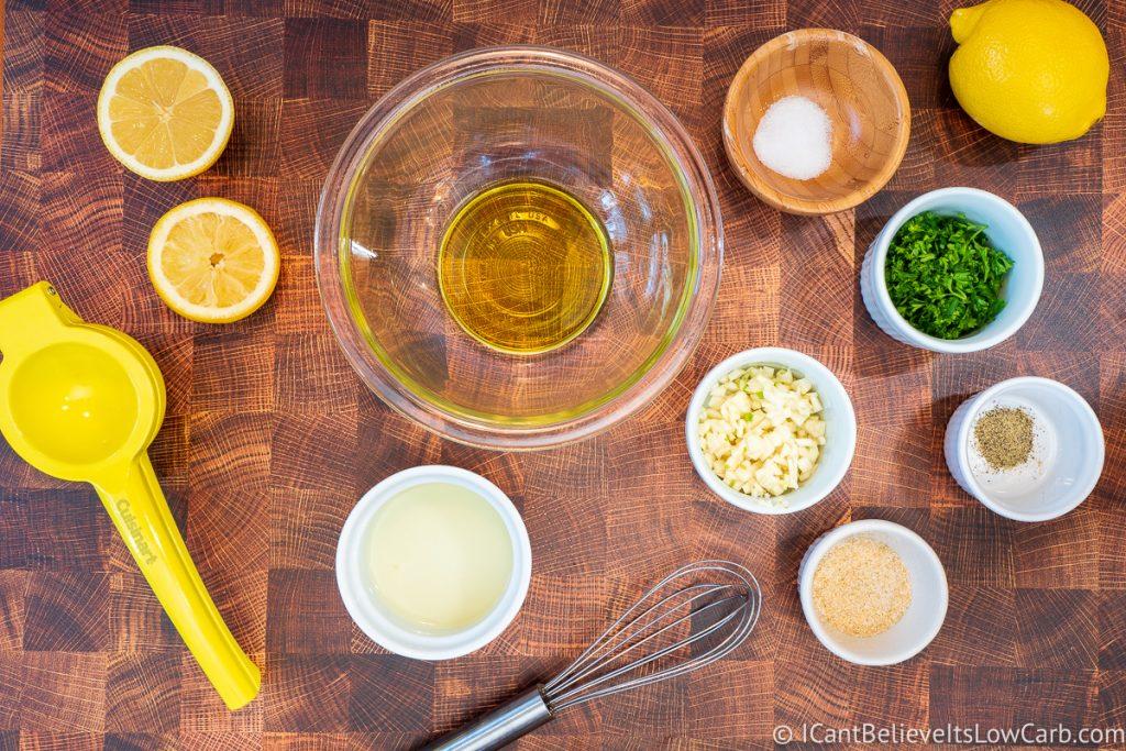 adding oil to bowl for lemon garlic sauce