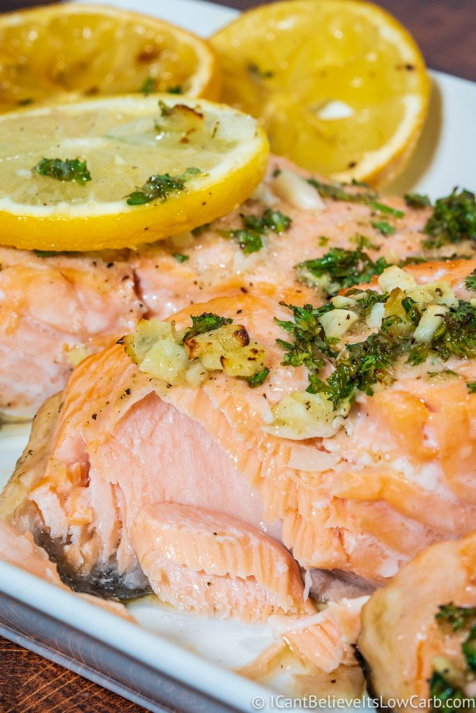 Inside a juicy Baked Salmon with lemon