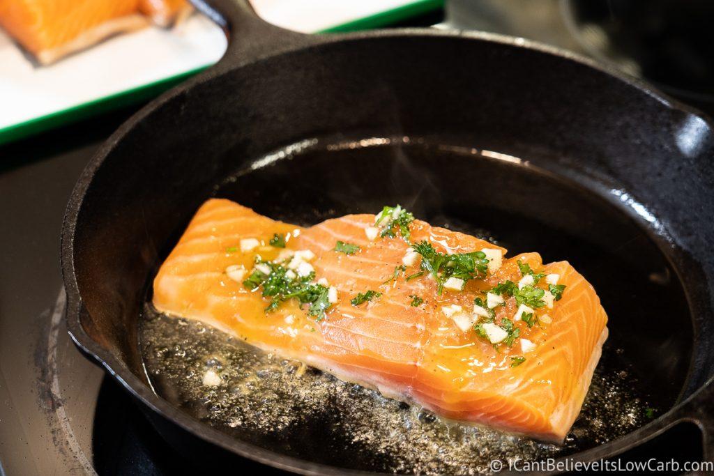 Searing Salmon filet in a cast iron pan