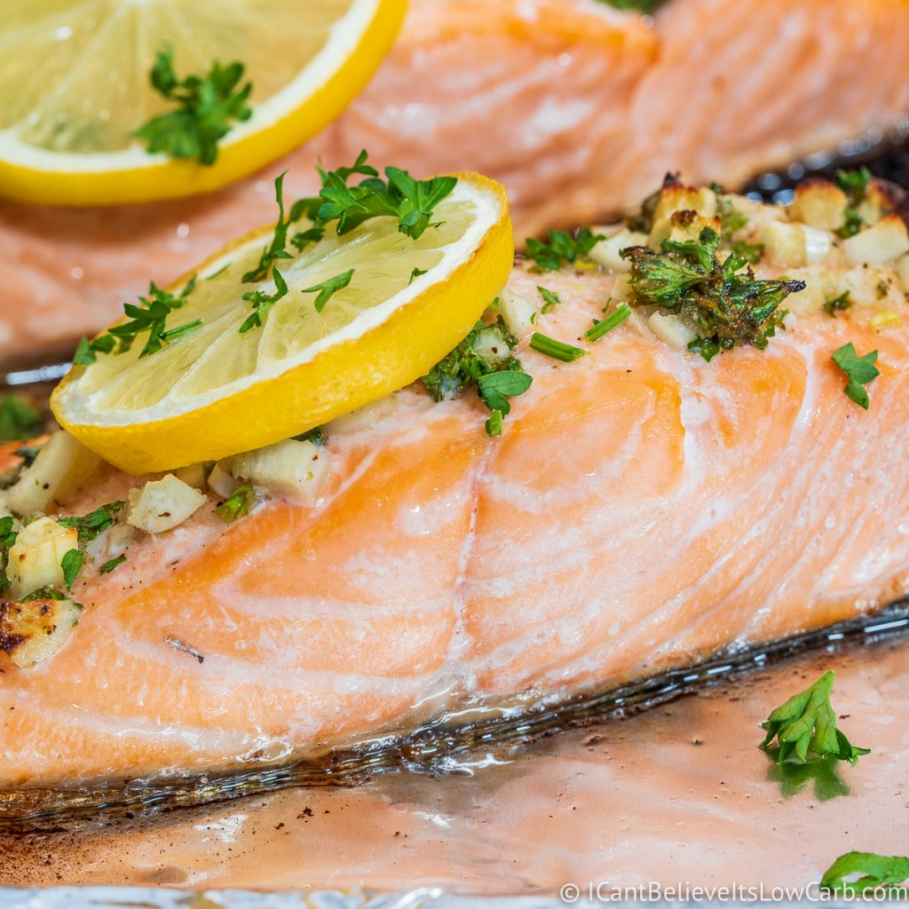 Close up of baked Salmon