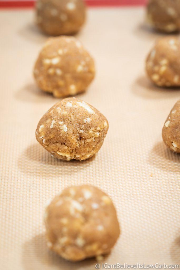 balls of Keto Oatmeal Cookie dough
