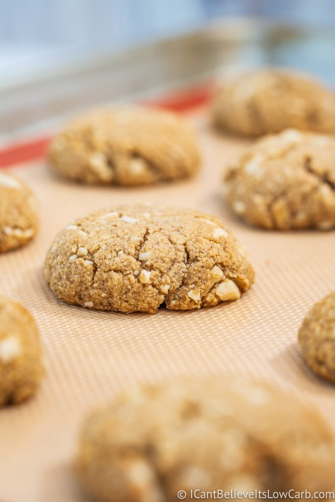 Keto Oatmeal Cookies after baking