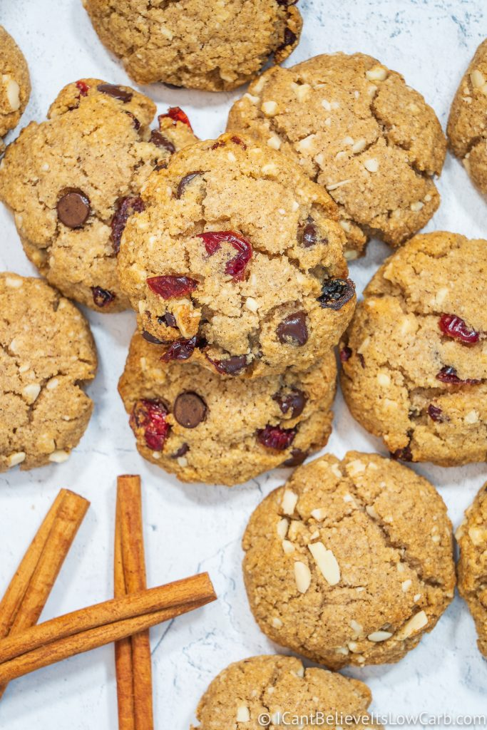 Easy Keto Oatmeal Cookies with cranberries