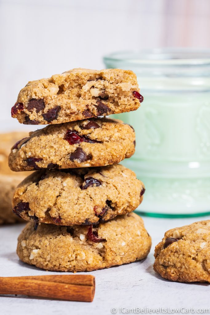 stack of Sugar-Free Oatmeal Cookies with chocolate chips