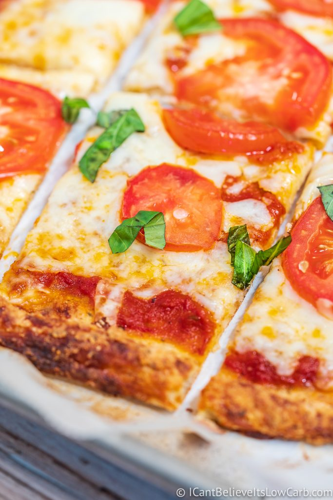 a slice of Keto Pizza