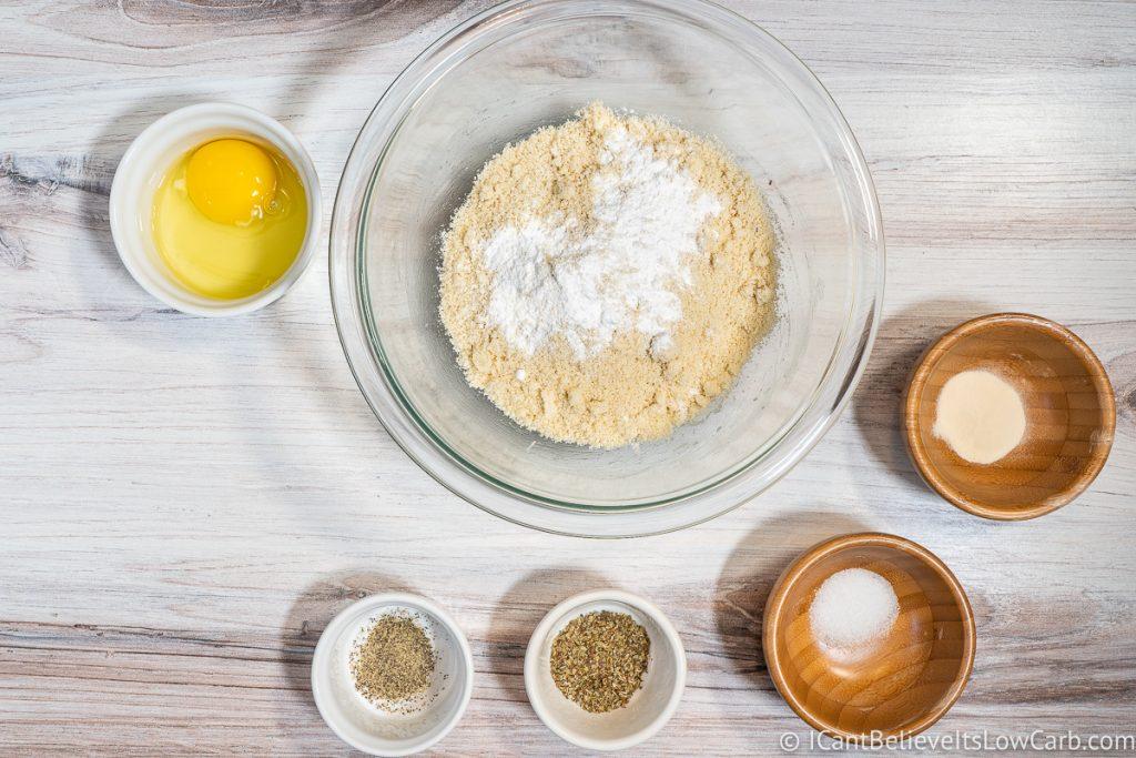 adding baking powder to crust mixture