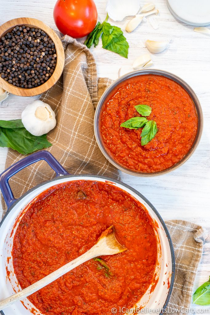 One pot and bowl of Keto Spaghetti Sauce