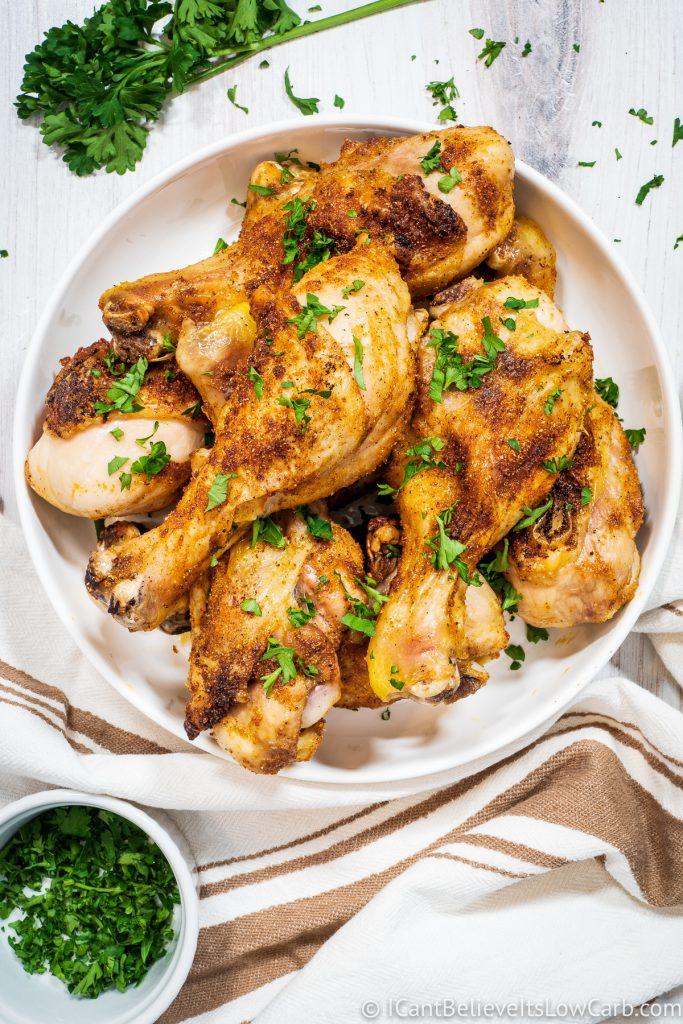 a bowl full of Baked Chicken Legs