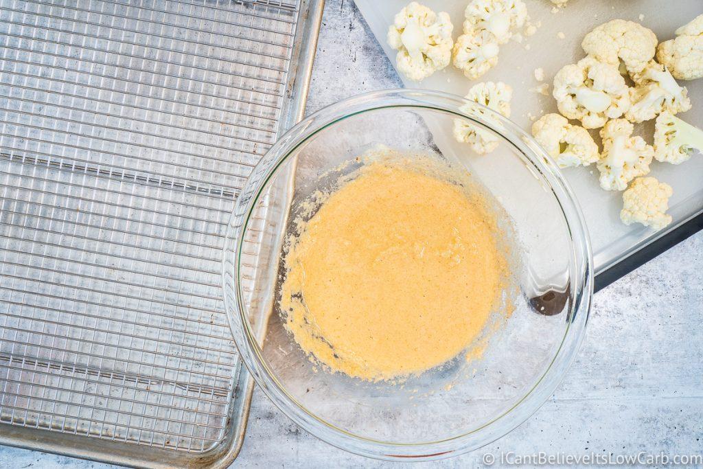 Buffalo Cauliflower batter in a bowl