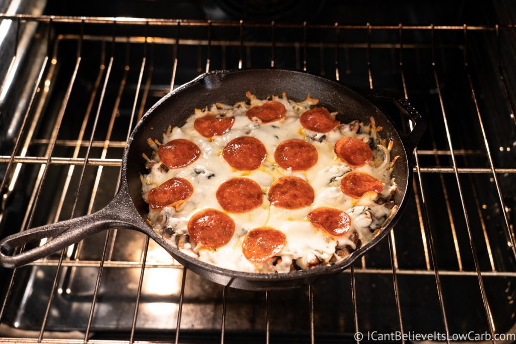Crustless Pizza baking in the oven