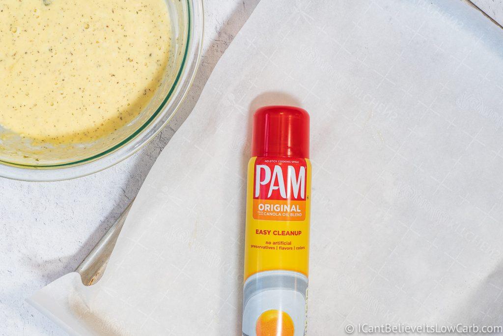 Pam spray on baking sheet